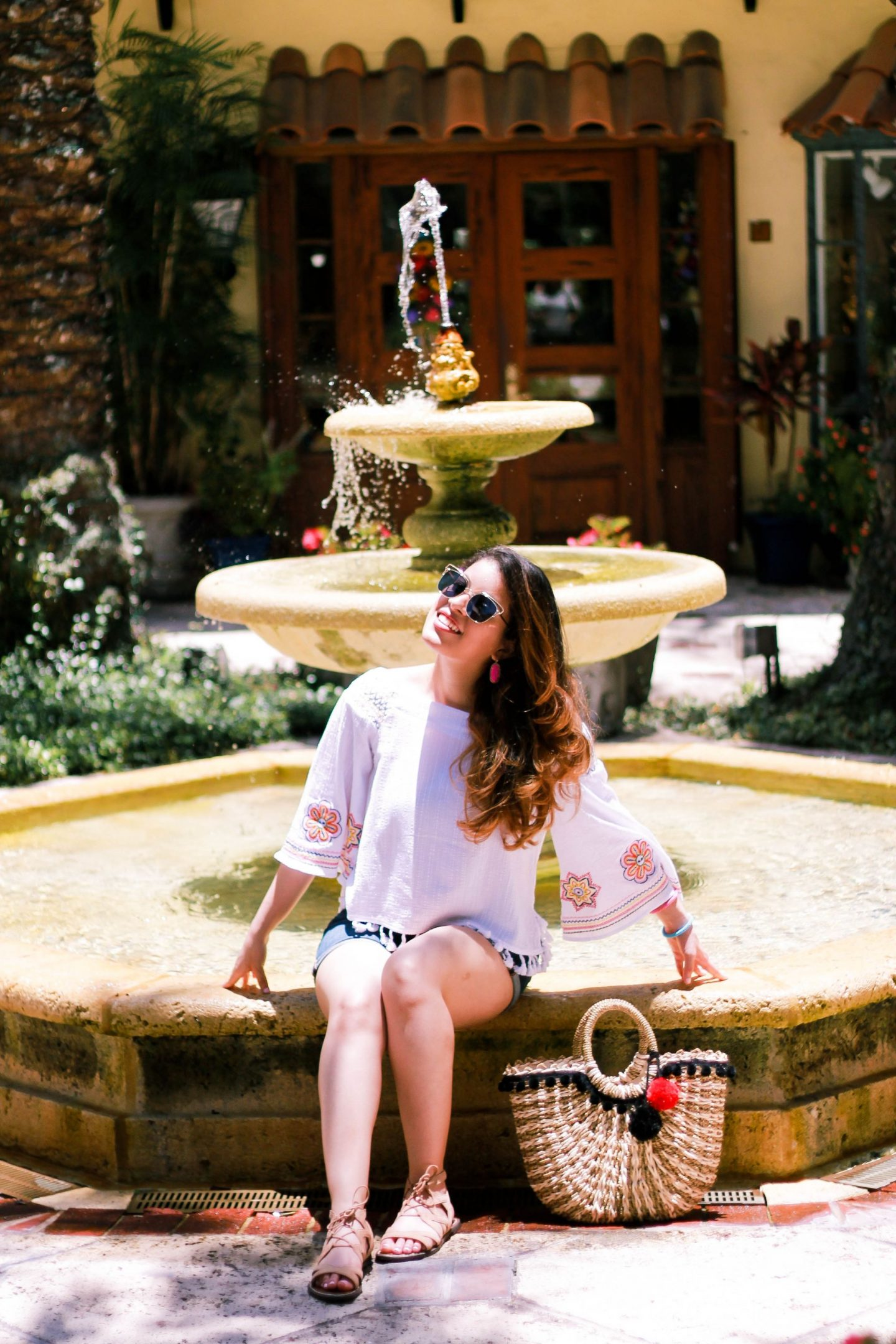 off the shoulder top, off the shoulder, ots, shorts, jeans, worth ave, worth, florida, palm beach, palm. europe, lace up sandals, heels, summer, chic, style, blogger, personal style blogger, travel,