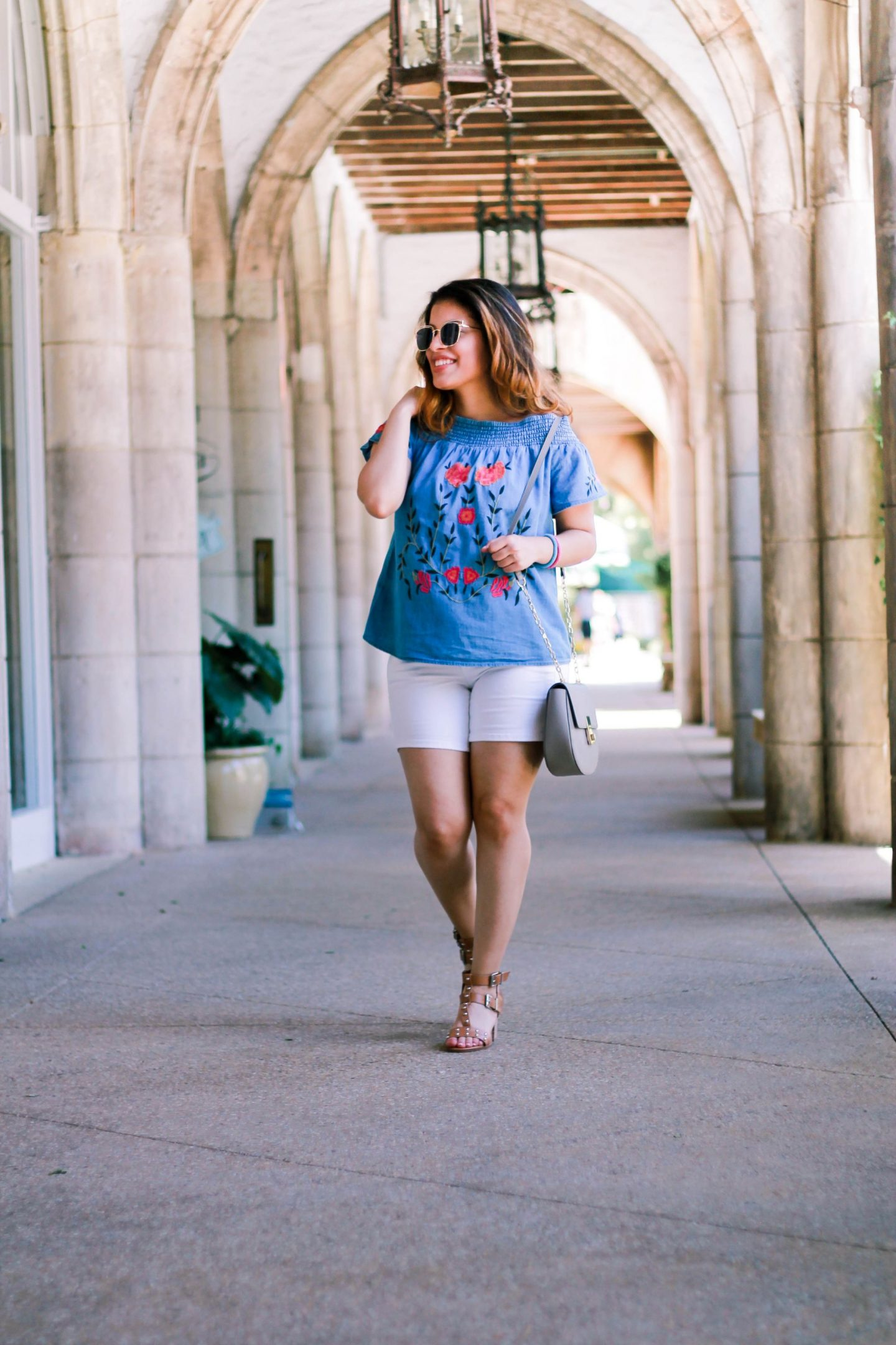 off the shoulder top, off the shoulder, ots, shorts, jeans, worth ave, worth, florida, palm beach, palm. europe, lace up sandals, heels, summer, chic, style, blogger, personal style blogger, travel, adidas superstar sneakers, sneakers, adidas, superstar, sunglasses, nordstrom